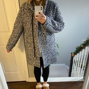 J Crew Boucle Navy & White Wool Coat